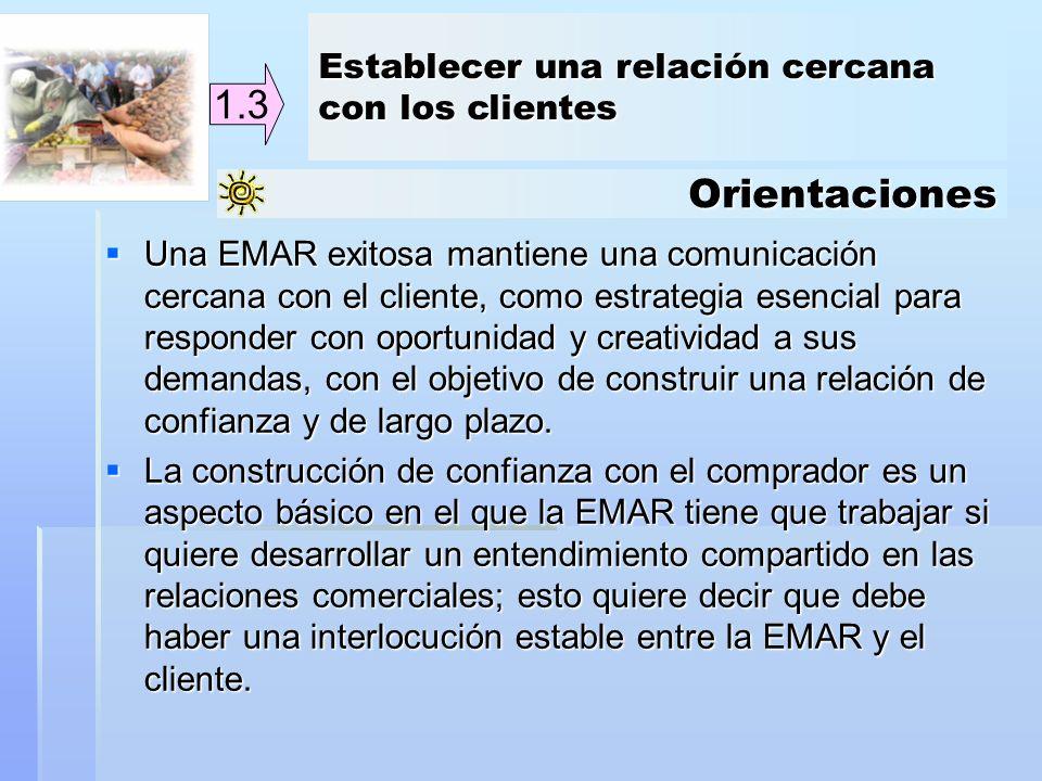 Orientaciones 1.3 Una EMAR exitosa mantiene una comunicación cercana con el cliente, como estrategia esencial para responder con oportunidad y creativ