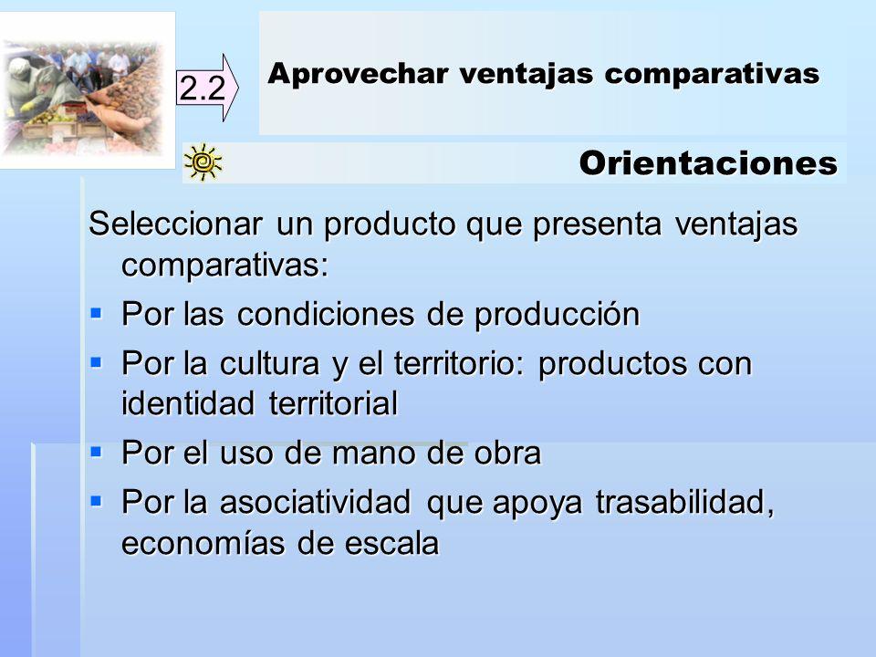 Orientaciones 2.2 Seleccionar un producto que presenta ventajas comparativas: Por las condiciones de producción Por las condiciones de producción Por