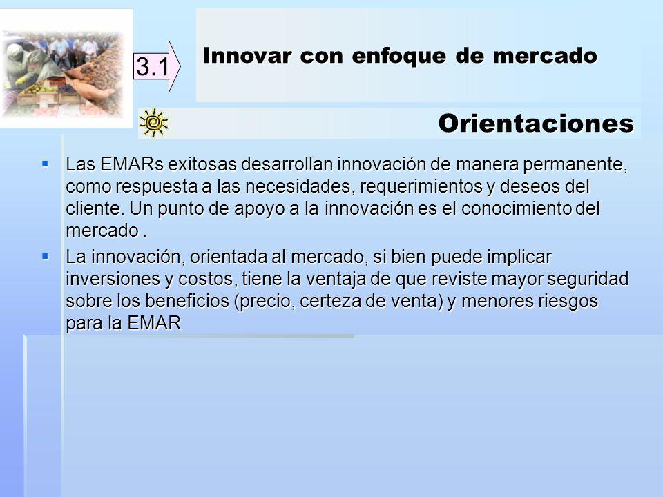 Orientaciones 3.1 Las EMARs exitosas desarrollan innovación de manera permanente, como respuesta a las necesidades, requerimientos y deseos del client