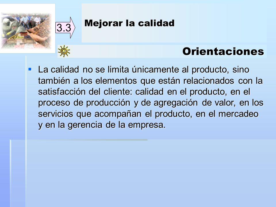 Orientaciones 3.3 La calidad no se limita únicamente al producto, sino también a los elementos que están relacionados con la satisfacción del cliente: