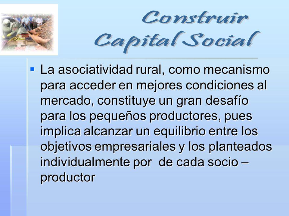 La asociatividad rural, como mecanismo para acceder en mejores condiciones al mercado, constituye un gran desafío para los pequeños productores, pues