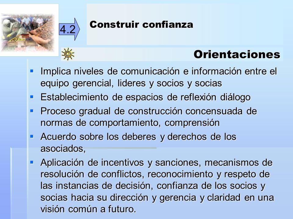 Orientaciones 4.2 Implica niveles de comunicación e información entre el equipo gerencial, lideres y socios y socias Implica niveles de comunicación e