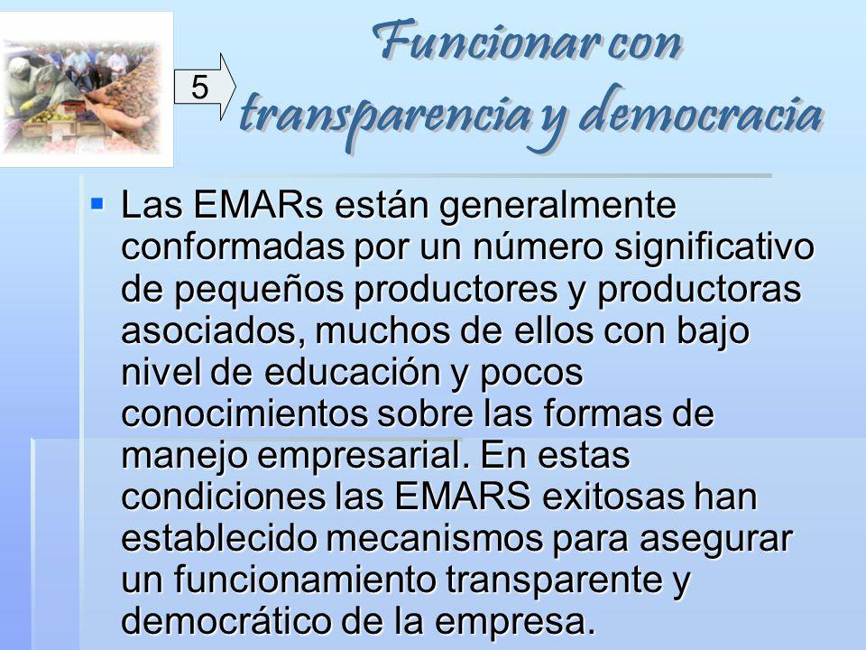 Las EMARs están generalmente conformadas por un número significativo de pequeños productores y productoras asociados, muchos de ellos con bajo nivel d
