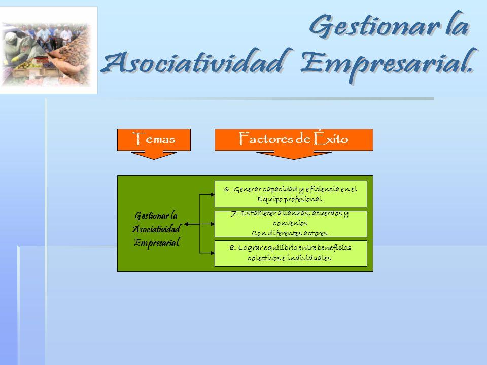 Gestionar la Asociatividad Empresarial. 6. Generar capacidad y eficiencia en el Equipo profesional. 7. Establecer alianzas, acuerdos y convenios Con d