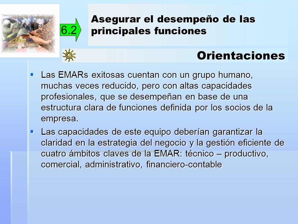 Orientaciones 6.2 Las EMARs exitosas cuentan con un grupo humano, muchas veces reducido, pero con altas capacidades profesionales, que se desempeñan e
