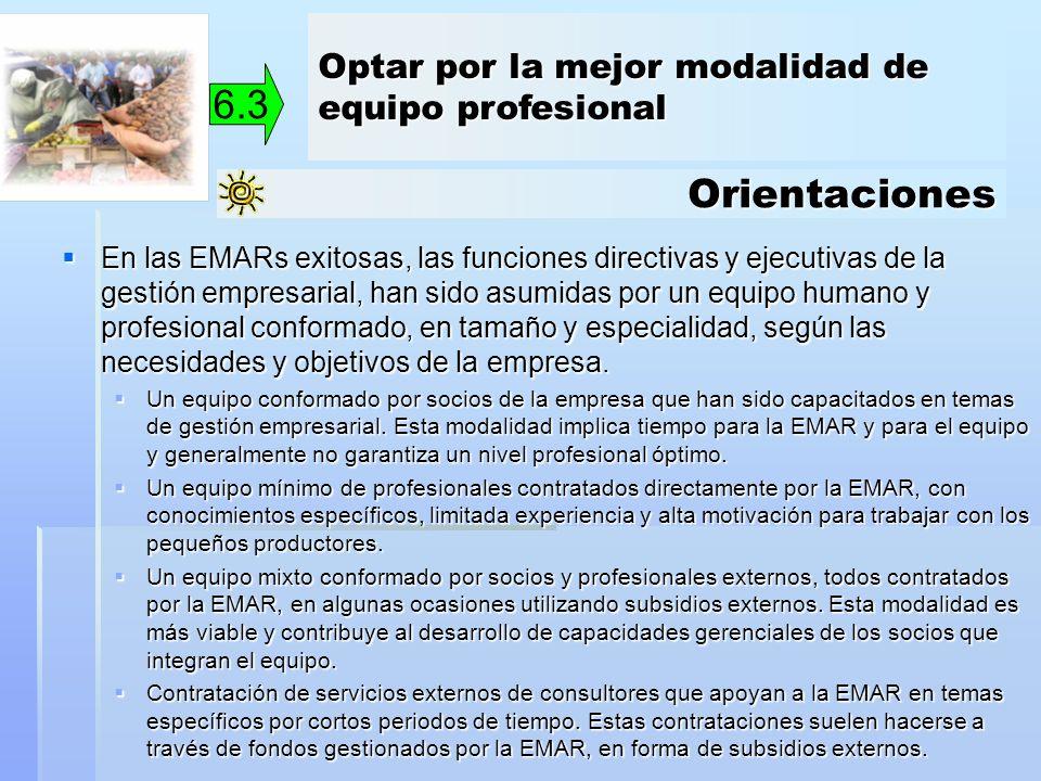 Orientaciones 6.3 En las EMARs exitosas, las funciones directivas y ejecutivas de la gestión empresarial, han sido asumidas por un equipo humano y pro