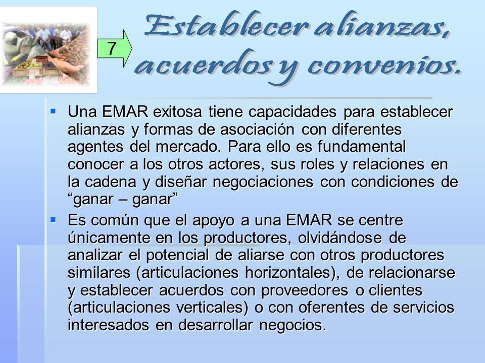 Una EMAR exitosa tiene capacidades para establecer alianzas y formas de asociación con diferentes agentes del mercado. Para ello es fundamental conoce