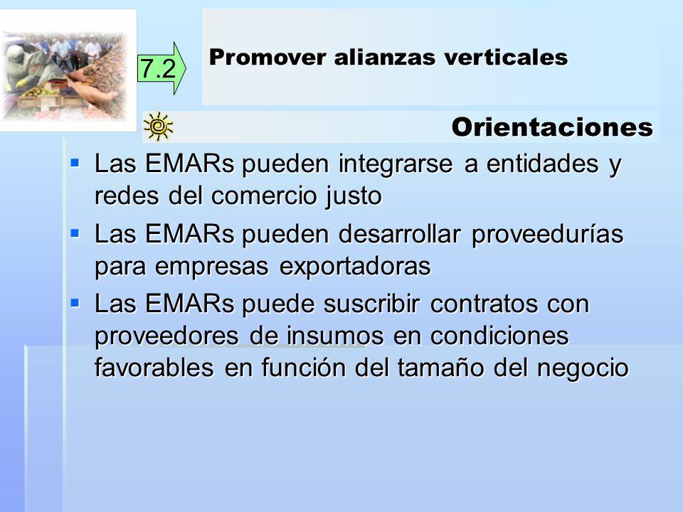 Orientaciones 7.2 Las EMARs pueden integrarse a entidades y redes del comercio justo Las EMARs pueden integrarse a entidades y redes del comercio just