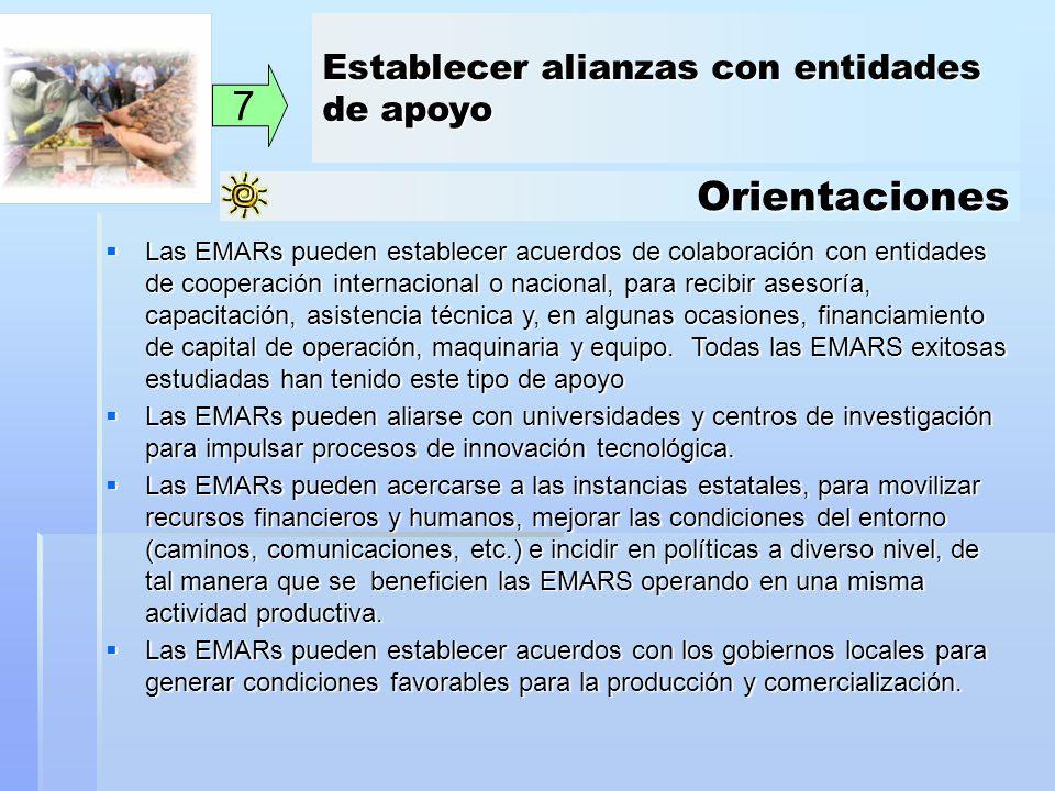 Orientaciones 7 Las EMARs pueden establecer acuerdos de colaboración con entidades de cooperación internacional o nacional, para recibir asesoría, cap