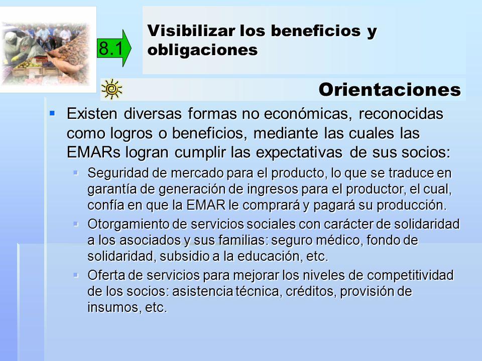 Orientaciones 8.1 Existen diversas formas no económicas, reconocidas como logros o beneficios, mediante las cuales las EMARs logran cumplir las expect