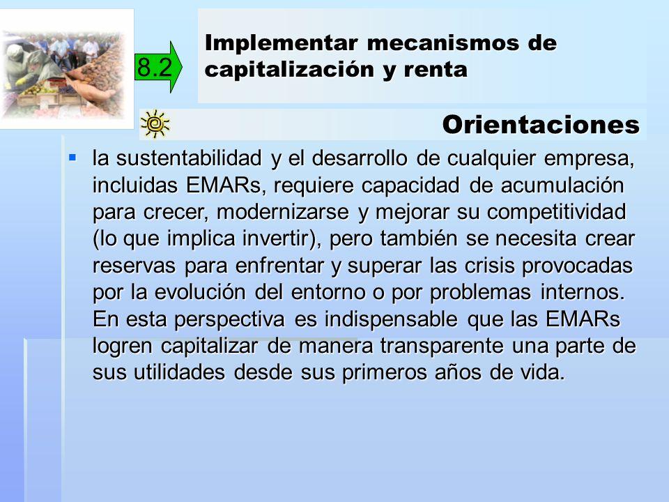 Orientaciones 8.2 la sustentabilidad y el desarrollo de cualquier empresa, incluidas EMARs, requiere capacidad de acumulación para crecer, modernizars