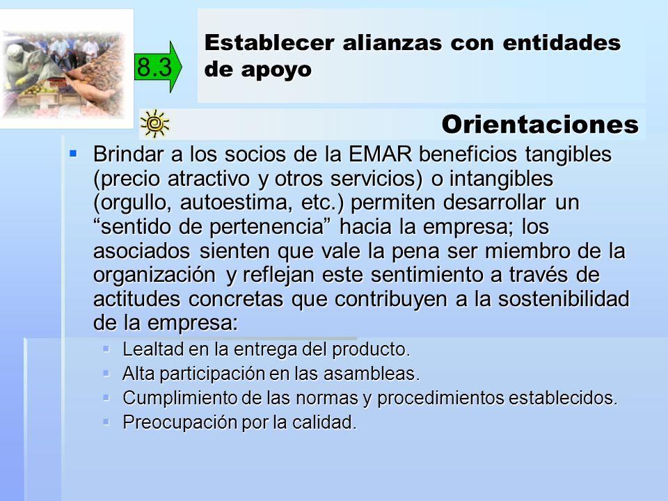 Orientaciones Brindar a los socios de la EMAR beneficios tangibles (precio atractivo y otros servicios) o intangibles (orgullo, autoestima, etc.) perm
