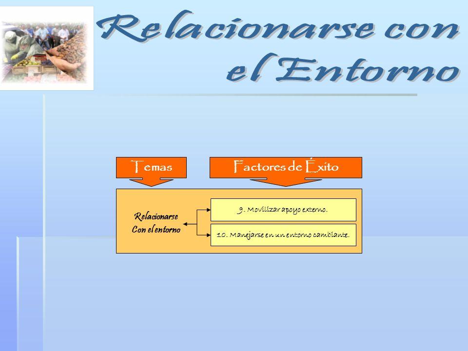 Relacionarse Con el entorno 9. Movilizar apoyo externo. 10. Manejarse en un entorno cambiante. Factores de ÉxitoTemas