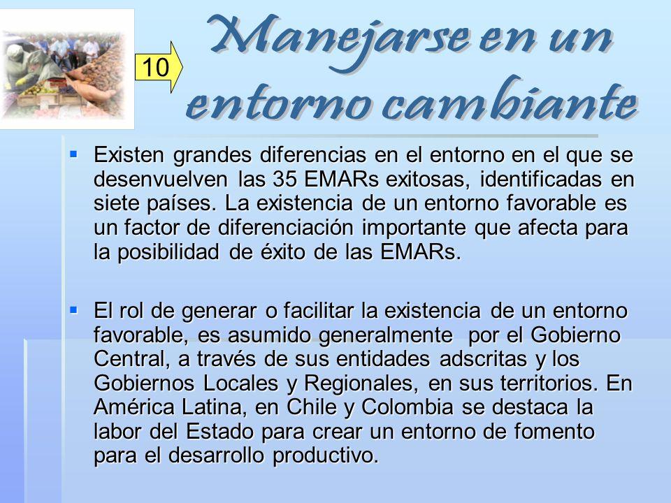 Existen grandes diferencias en el entorno en el que se desenvuelven las 35 EMARs exitosas, identificadas en siete países. La existencia de un entorno