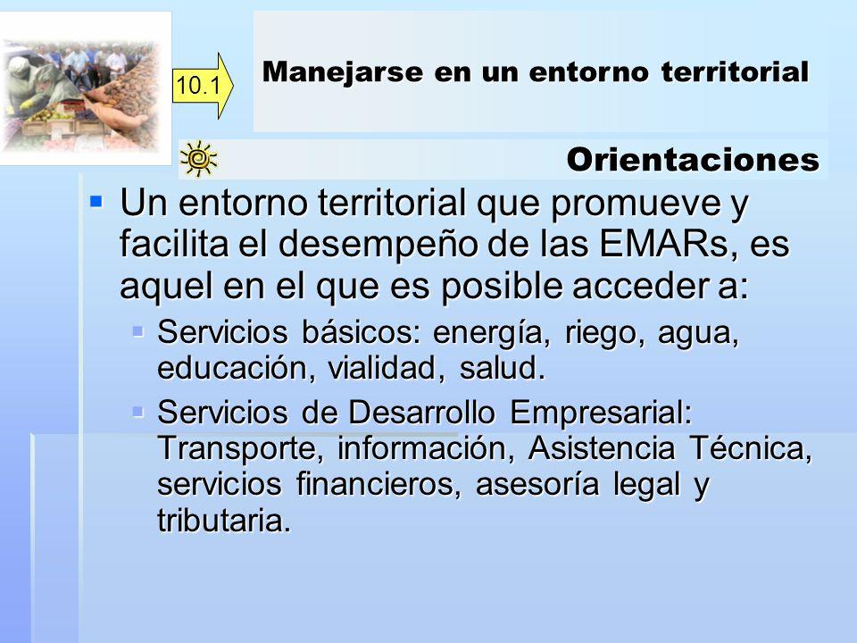Orientaciones Un entorno territorial que promueve y facilita el desempeño de las EMARs, es aquel en el que es posible acceder a: Un entorno territoria