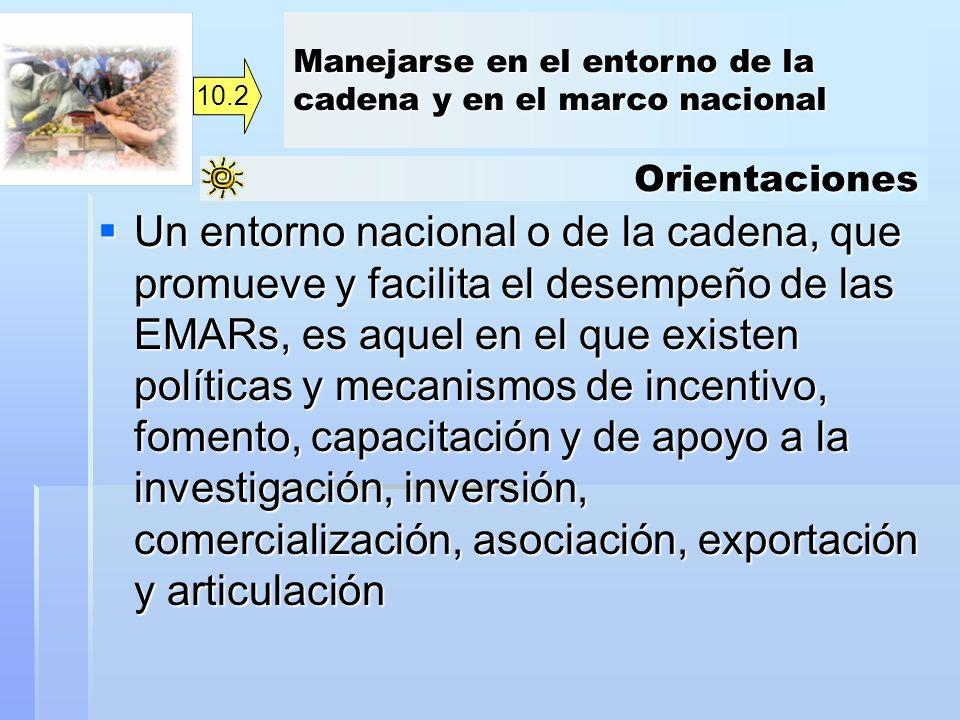 Orientaciones Un entorno nacional o de la cadena, que promueve y facilita el desempeño de las EMARs, es aquel en el que existen políticas y mecanismos