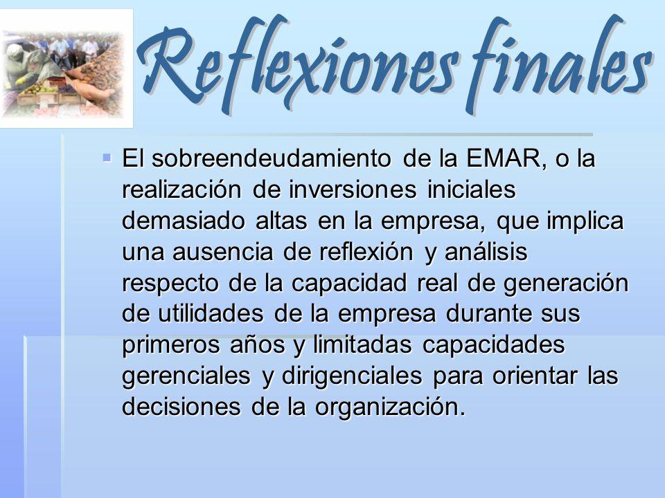 El sobreendeudamiento de la EMAR, o la realización de inversiones iniciales demasiado altas en la empresa, que implica una ausencia de reflexión y aná