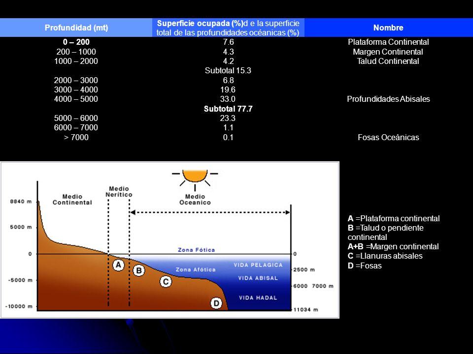 Profundidad (mt) Superficie ocupada (%)d e la superficie total de las profundidades océanicas (%) Nombre 0 – 2007.6Plataforma Continental 200 – 10004.