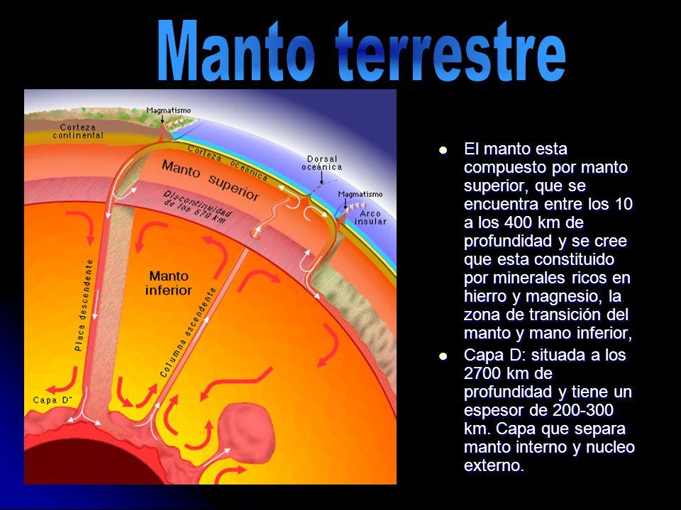 El manto esta compuesto por manto superior, que se encuentra entre los 10 a los 400 km de profundidad y se cree que esta constituido por minerales ric