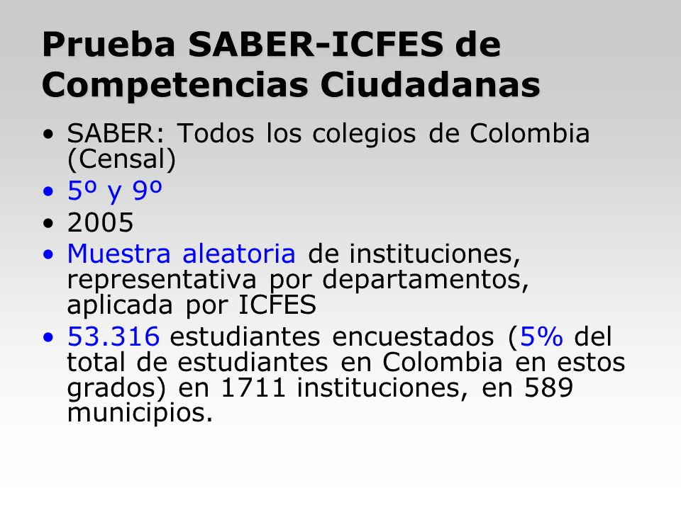 Prueba SABER-ICFES de Competencias Ciudadanas SABER: Todos los colegios de Colombia (Censal) 5º y 9º 2005 Muestra aleatoria de instituciones, represen