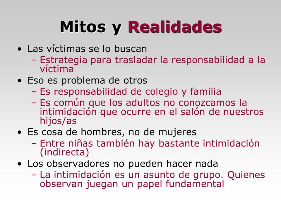 Mitos y Realidades Las víctimas se lo buscan –Estrategia para trasladar la responsabilidad a la víctima Eso es problema de otros –Es responsabilidad d