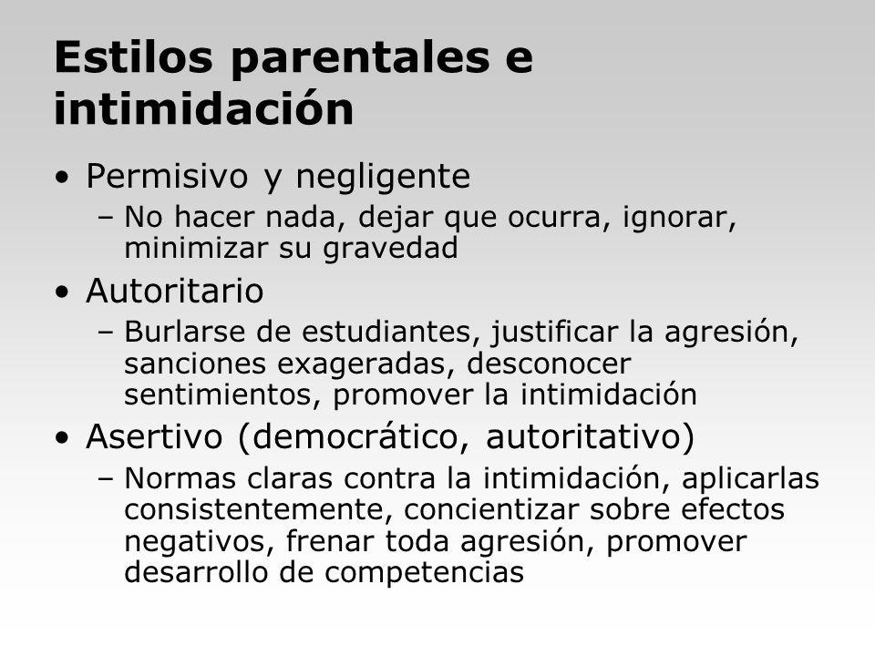 Estilos parentales e intimidación Permisivo y negligente –No hacer nada, dejar que ocurra, ignorar, minimizar su gravedad Autoritario –Burlarse de est