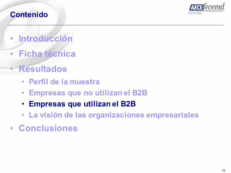 19 Contenido Introducción Ficha técnica Resultados Perfil de la muestra Empresas que no utilizan el B2B Empresas que utilizan el B2B La visión de las