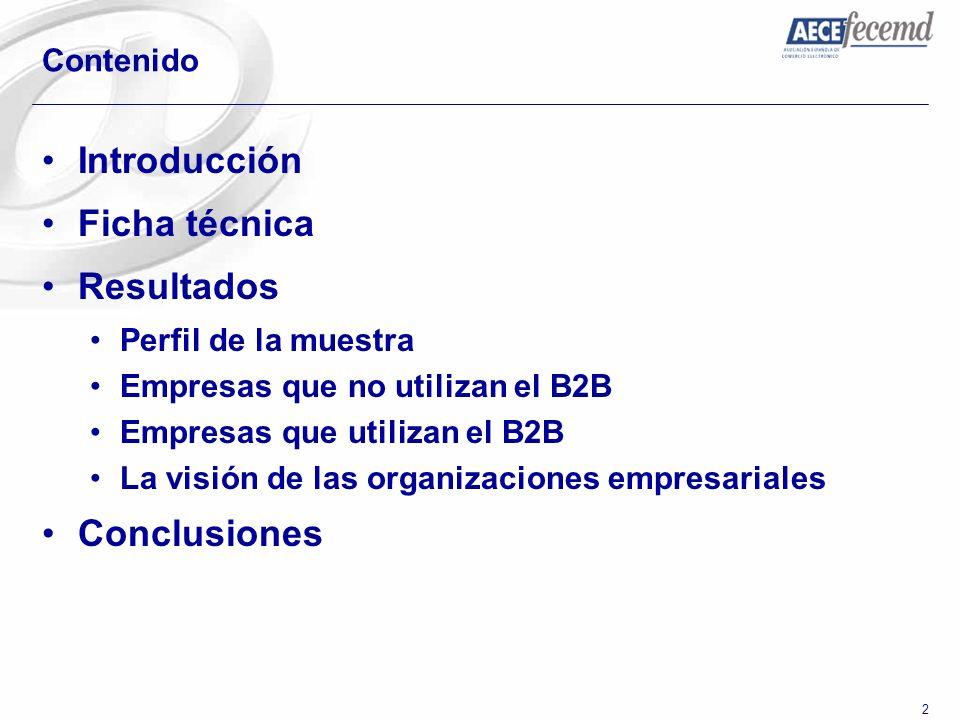 33 Contenido Introducción Ficha técnica Resultados Perfil de la muestra Empresas que no utilizan el B2B Empresas que utilizan el B2B La visión de las organizaciones empresariales Conclusiones