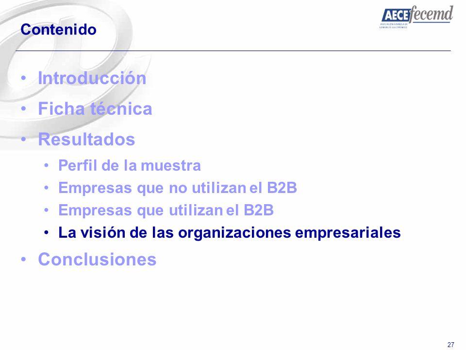 27 Contenido Introducción Ficha técnica Resultados Perfil de la muestra Empresas que no utilizan el B2B Empresas que utilizan el B2B La visión de las