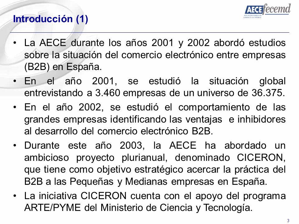 3 Introducción (1) La AECE durante los años 2001 y 2002 abordó estudios sobre la situación del comercio electrónico entre empresas (B2B) en España. En