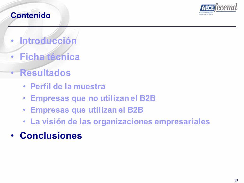 33 Contenido Introducción Ficha técnica Resultados Perfil de la muestra Empresas que no utilizan el B2B Empresas que utilizan el B2B La visión de las
