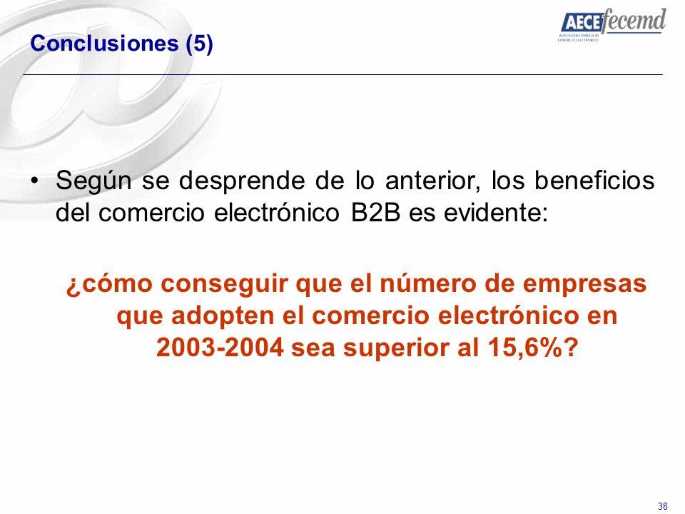 38 Conclusiones (5) Según se desprende de lo anterior, los beneficios del comercio electrónico B2B es evidente: ¿cómo conseguir que el número de empre