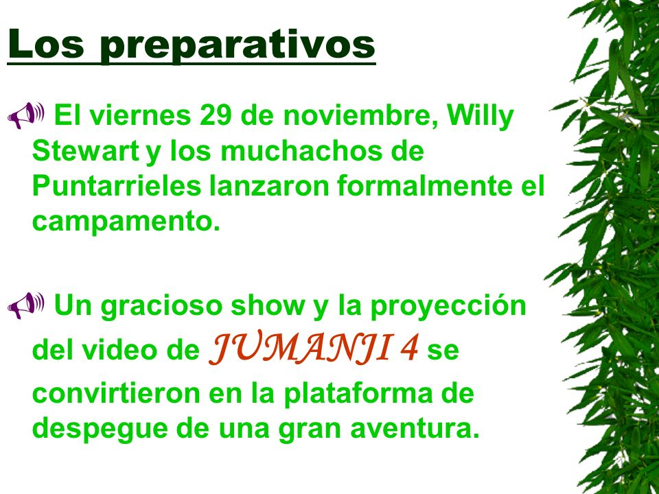 Los preparativos El viernes 29 de noviembre, Willy Stewart y los muchachos de Puntarrieles lanzaron formalmente el campamento. Un gracioso show y la p
