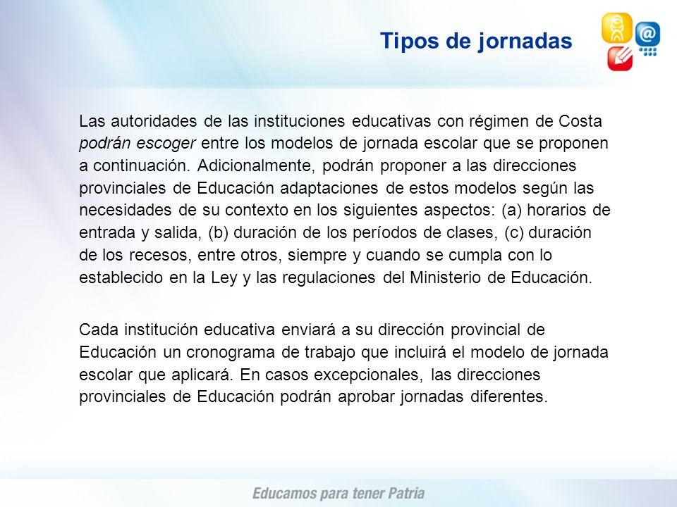 Las autoridades de las instituciones educativas con régimen de Costa podrán escoger entre los modelos de jornada escolar que se proponen a continuació