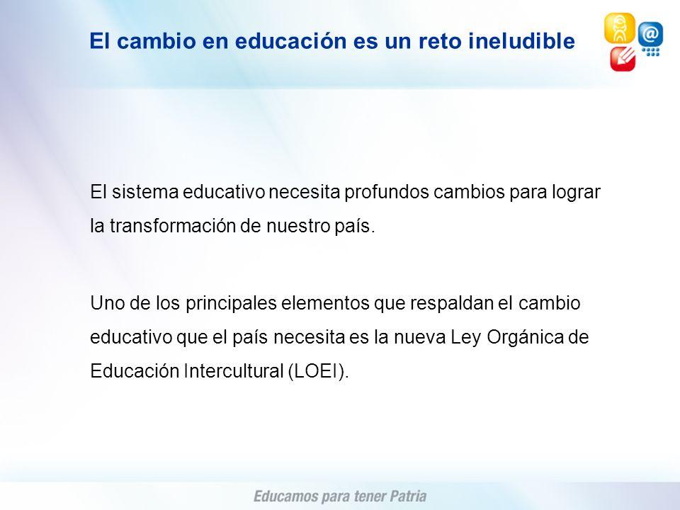 El sistema educativo necesita profundos cambios para lograr la transformación de nuestro país. Uno de los principales elementos que respaldan el cambi