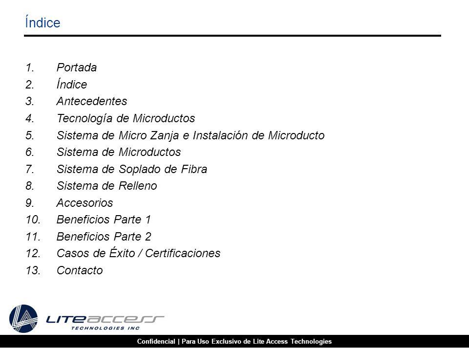 1.Portada 2.Índice 3.Antecedentes 4.Tecnología de Microductos 5.Sistema de Micro Zanja e Instalación de Microducto 6.Sistema de Microductos 7.Sistema