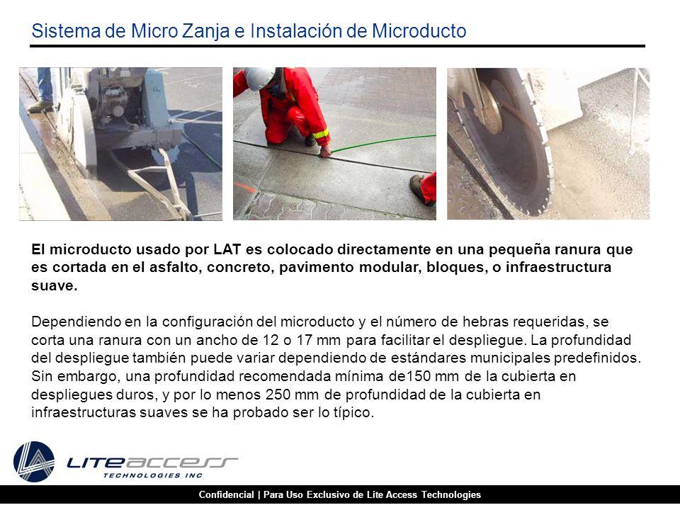 Confidencial | Para Uso Exclusivo de Lite Access Technologies Sistema de Micro Zanja e Instalación de Microducto El microducto usado por LAT es coloca