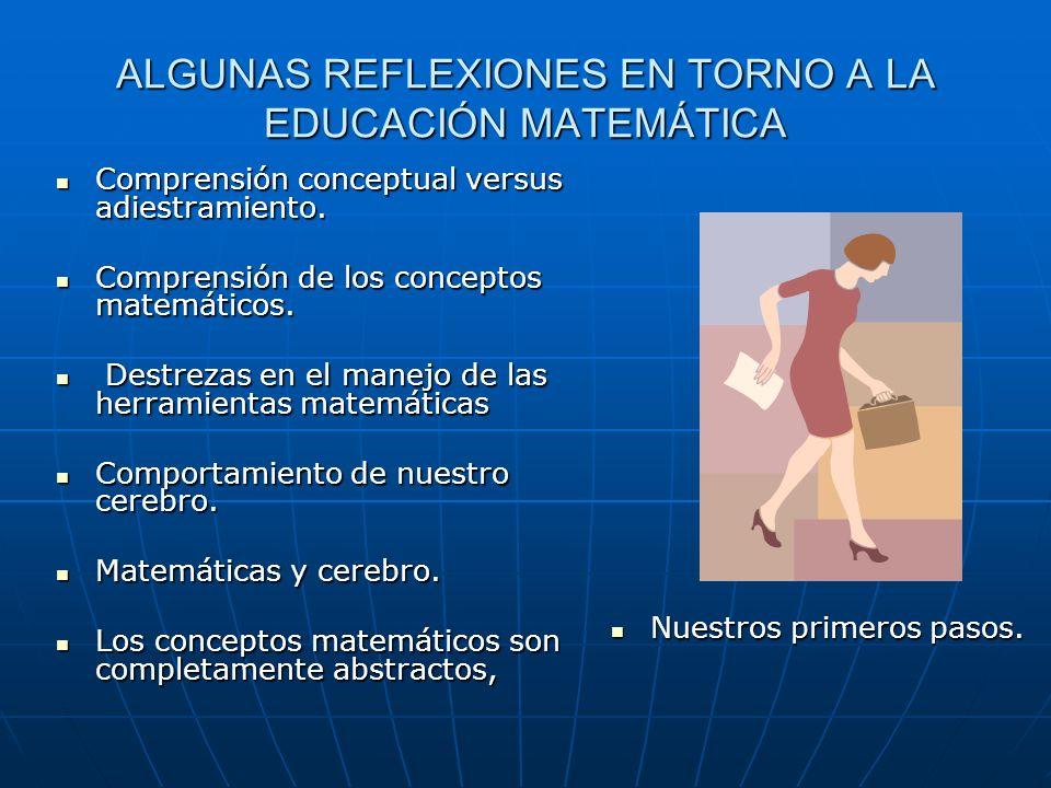 ALGUNAS REFLEXIONES EN TORNO A LA EDUCACIÓN MATEMÁTICA Comprensión conceptual versus adiestramiento. Comprensión conceptual versus adiestramiento. Com