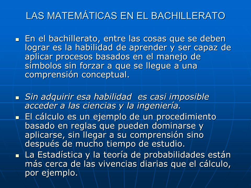LAS RUTINAS EN EL BACHILLERATO ¿Son las rutinas el único objetivo de la enseñanza de las matemáticas en el bachillerato.