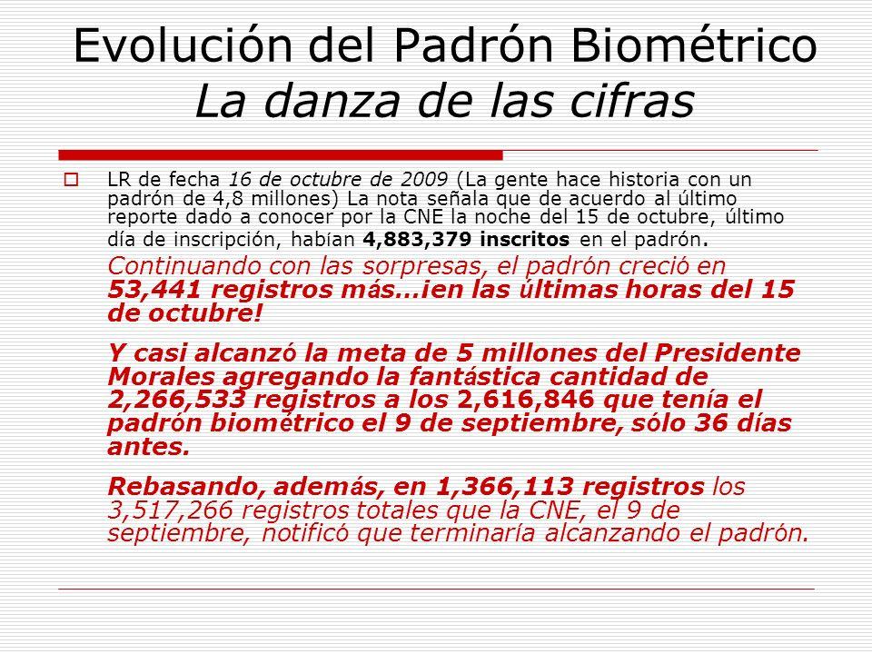 Evolución del Padrón Biométrico La danza de las cifras LR de fecha 16 de octubre de 2009 (La gente hace historia con un padrón de 4,8 millones) La not