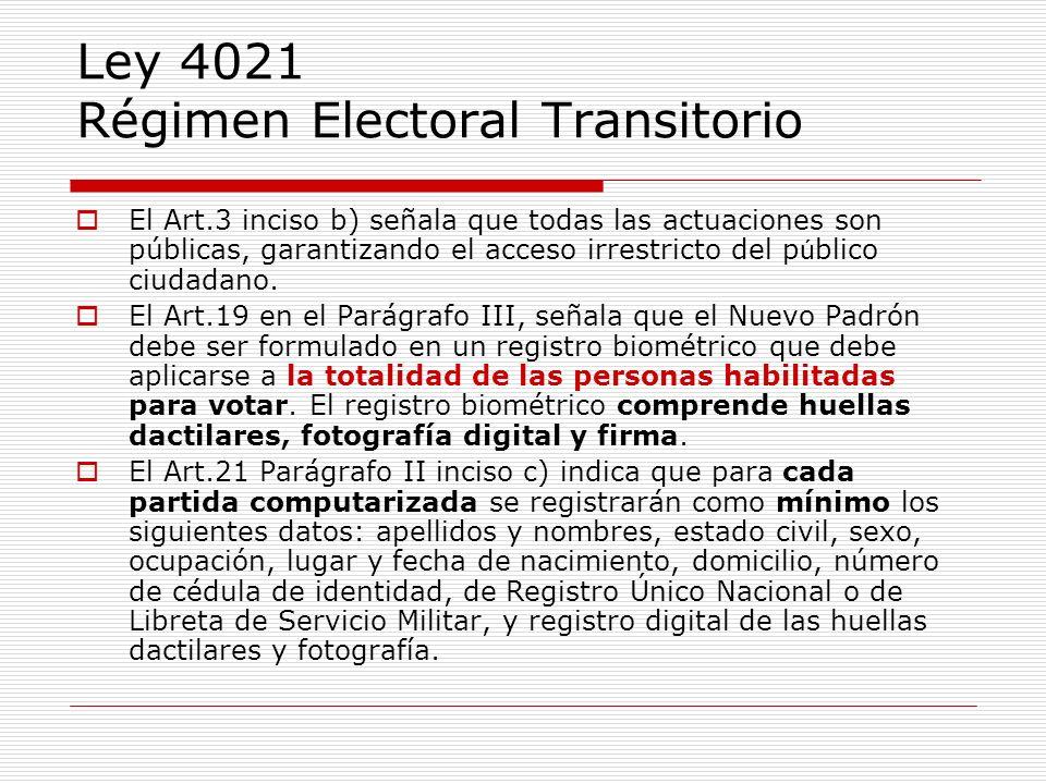 Ley 4021 Régimen Electoral Transitorio El Art.3 inciso b) señala que todas las actuaciones son públicas, garantizando el acceso irrestricto del p ú bl
