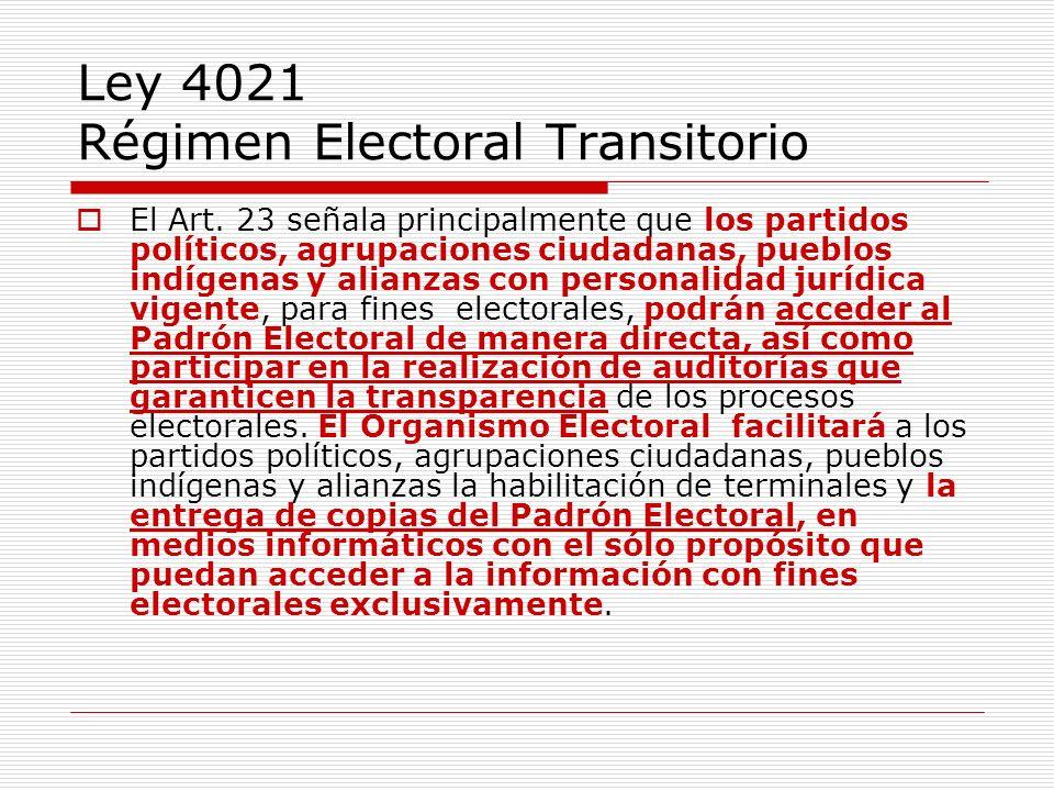 Ley 4021 Régimen Electoral Transitorio El Art. 23 señala principalmente que los partidos políticos, agrupaciones ciudadanas, pueblos indígenas y alian