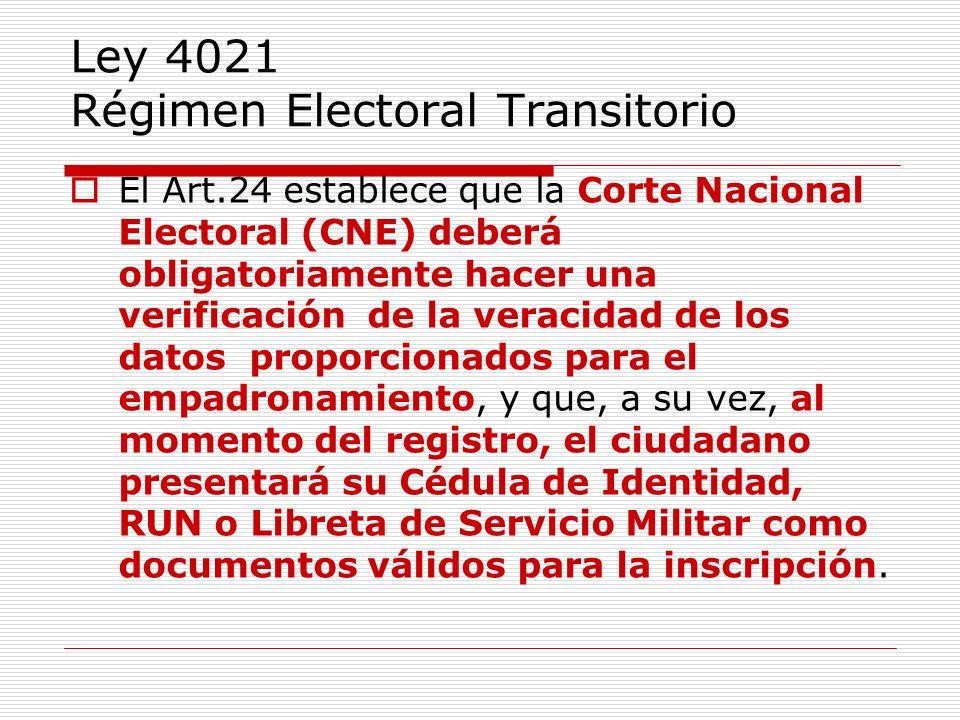 Ley 4021 Régimen Electoral Transitorio El Art.24 establece que la Corte Nacional Electoral (CNE) deberá obligatoriamente hacer una verificación de la