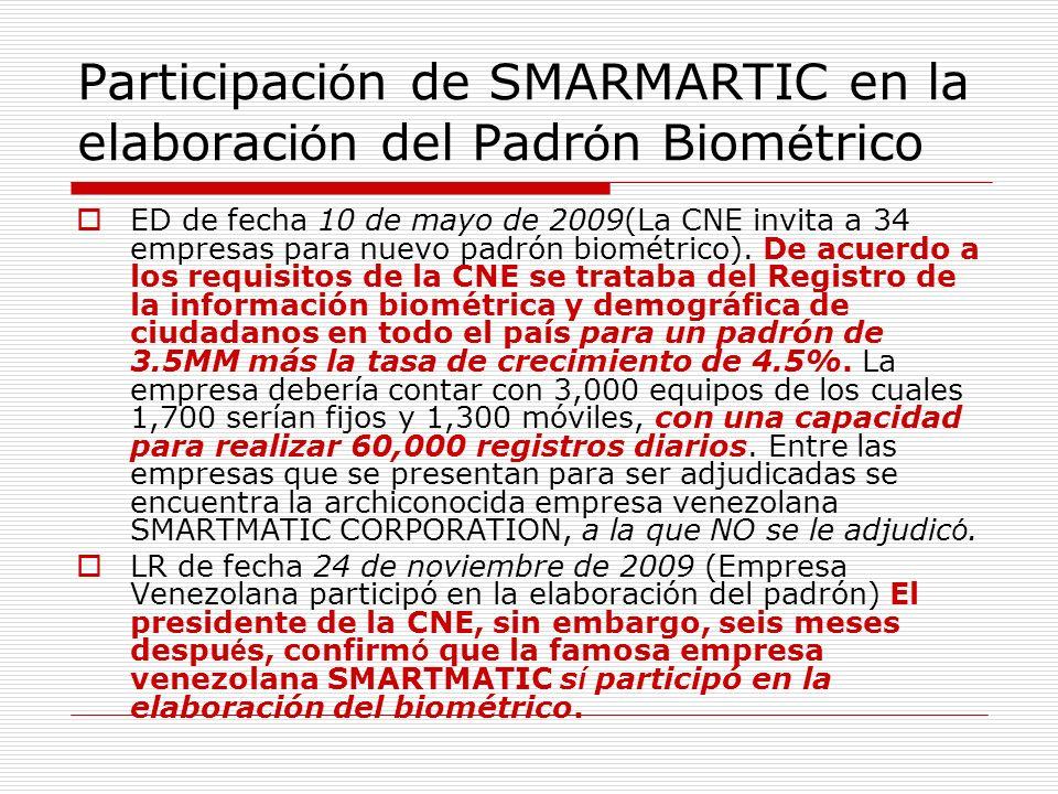 Participaci ó n de SMARMARTIC en la elaboraci ó n del Padr ó n Biom é trico ED de fecha 10 de mayo de 2009(La CNE invita a 34 empresas para nuevo padr