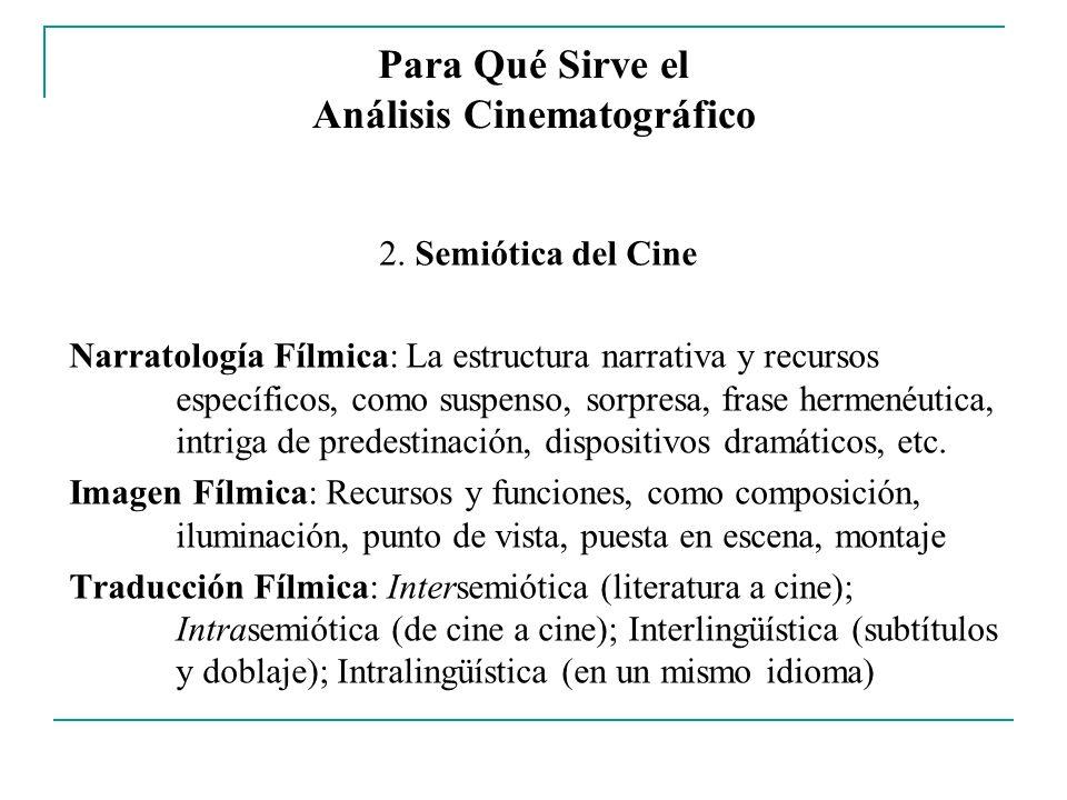 Para Qué Sirve el Análisis Cinematográfico 2. Semiótica del Cine Narratología Fílmica: La estructura narrativa y recursos específicos, como suspenso,