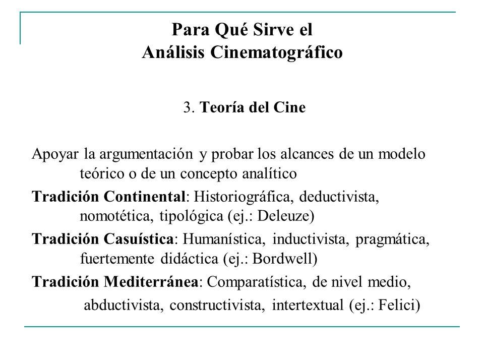 Para Qué Sirve el Análisis Cinematográfico 3. Teoría del Cine Apoyar la argumentación y probar los alcances de un modelo teórico o de un concepto anal