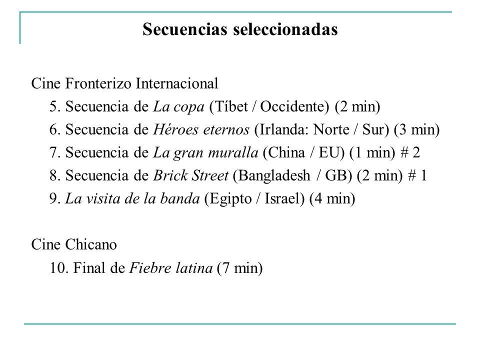 Secuencias seleccionadas Cine Fronterizo Internacional 5. Secuencia de La copa (Tíbet / Occidente) (2 min) 6. Secuencia de Héroes eternos (Irlanda: No
