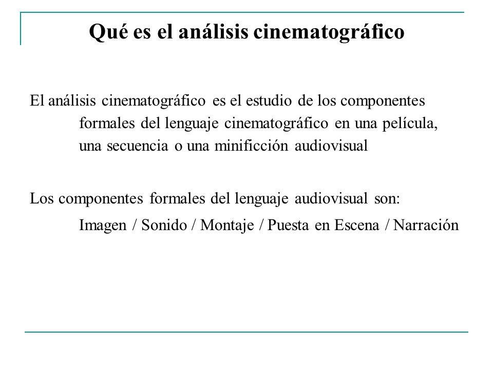 Qué es el análisis cinematográfico El análisis cinematográfico es el estudio de los componentes formales del lenguaje cinematográfico en una película,