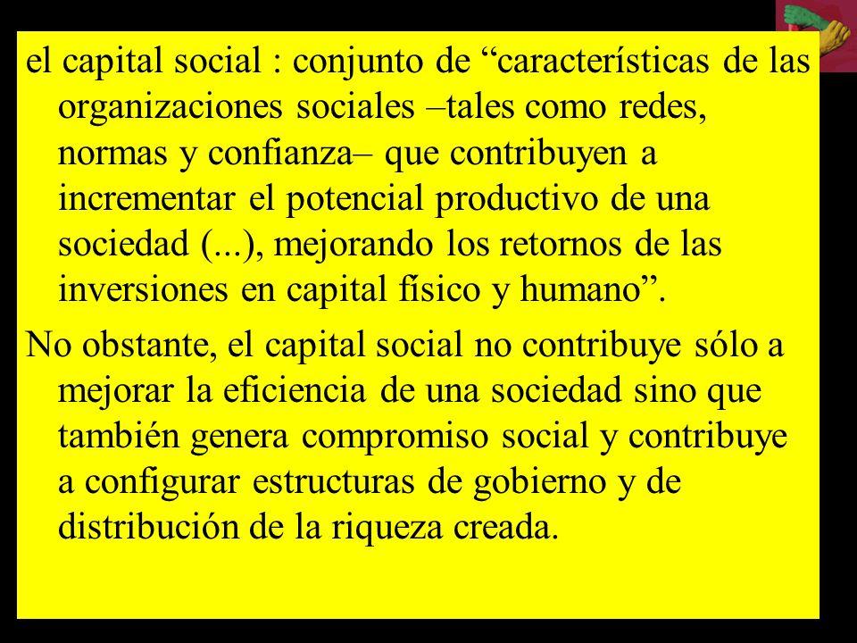 El capital social ha sido el punto de encuentro de diversas teorías del desarrollo en la década de los 90. Asi renace Adam Smith ( La Riqueza de las N