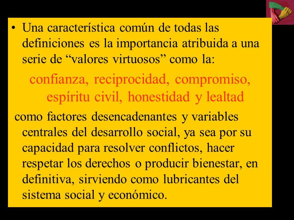 el capital social : conjunto de características de las organizaciones sociales –tales como redes, normas y confianza– que contribuyen a incrementar el